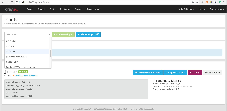 Setup Graylog on local machine and sent log messages to it