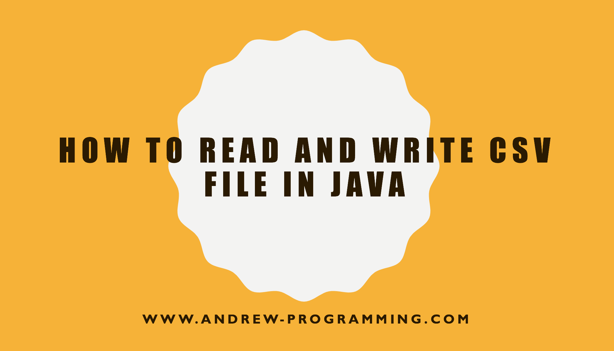 How to read and write CSV file in Java